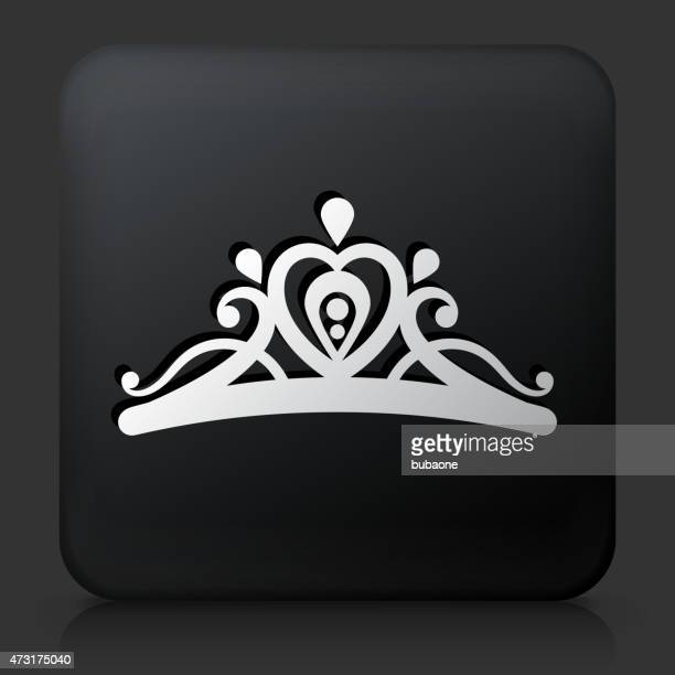 black square button with tiara icon - tiara stock illustrations, clip art, cartoons, & icons