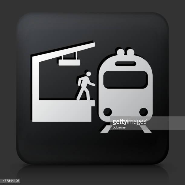 Black Square Button with Train Stop