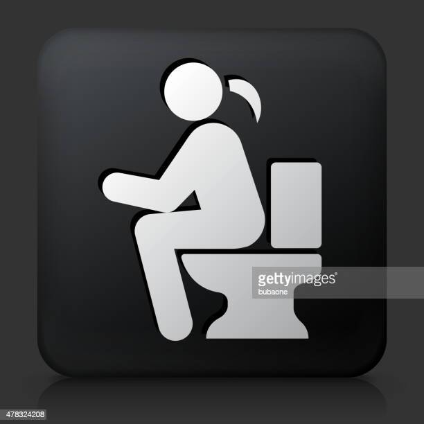 black square button with using the toilet - defecating stock illustrations, clip art, cartoons, & icons