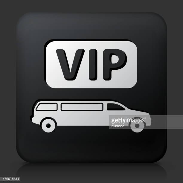 Black Square Button with VIP Limo Icon