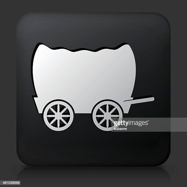 black square button with wagon icon - horsedrawn stock illustrations, clip art, cartoons, & icons