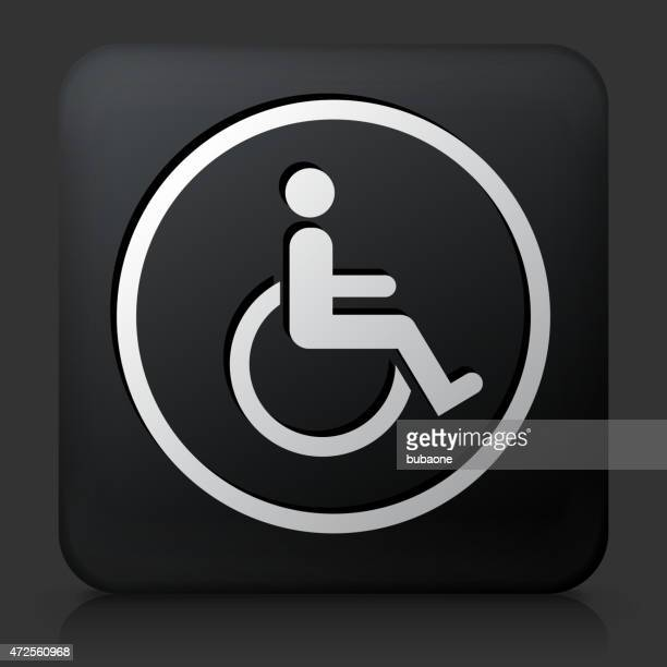 black square button with wheelchair icon - disability stock illustrations, clip art, cartoons, & icons