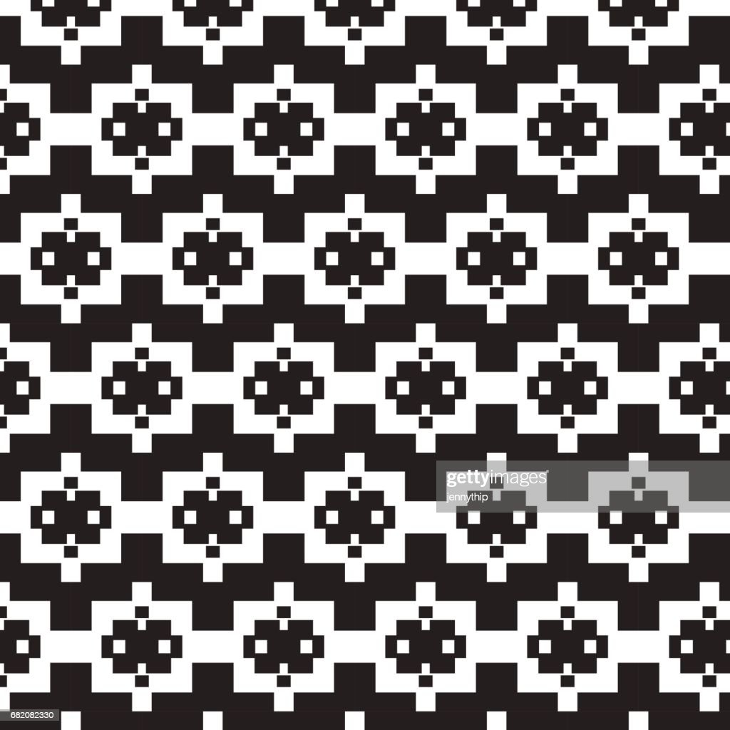 black square on white square with little white square pattern background