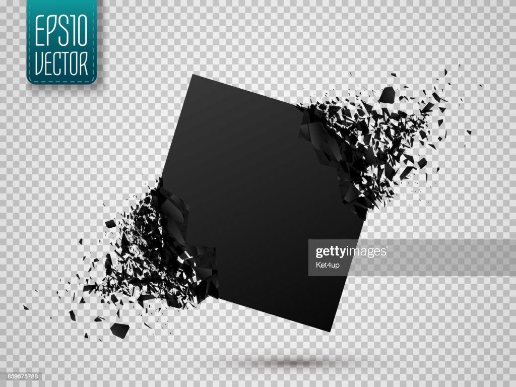Black square with debris isolated. Abstract black explosion. Vector illustration
