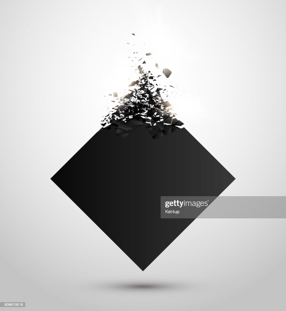 Black square with debris on white background. Abstract explosion. Vector