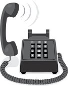Black stationary phone with button keypad and raised handset