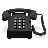 Black Stationary Phone With Button Keypad