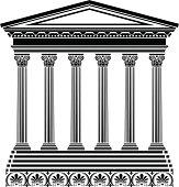 Black Stencil of Greek temple on white