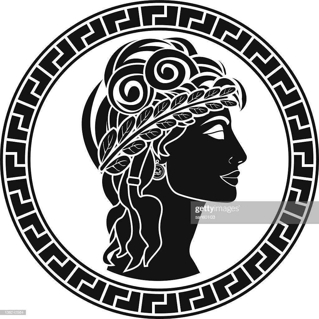 Black stencil of Patrician woman facing right