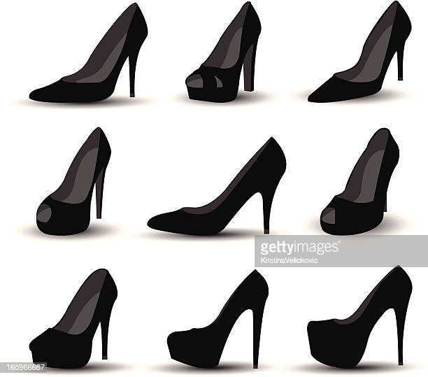 Black stiletto shoes of various design