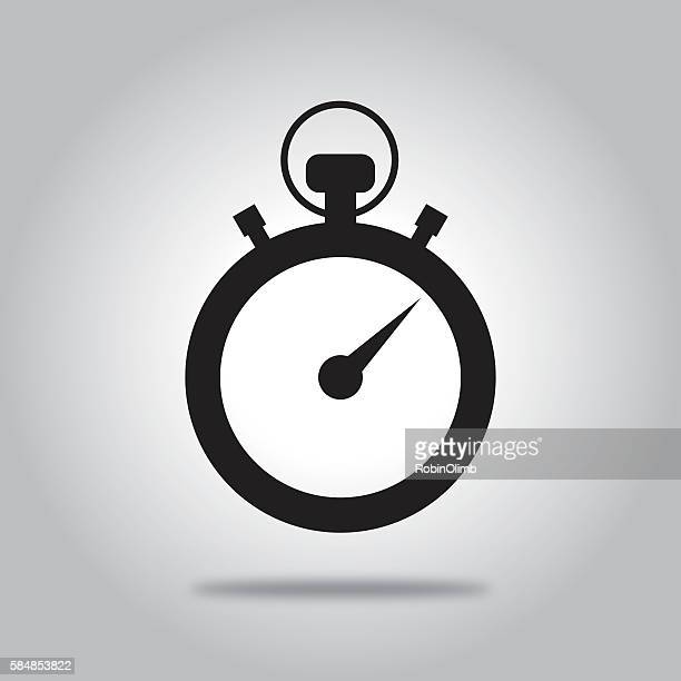 ilustrações, clipart, desenhos animados e ícones de black stopwatch icon - cronômetro instrumento para medir o tempo