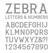 Black striped letters and numbers with flourishes. Artistic font
