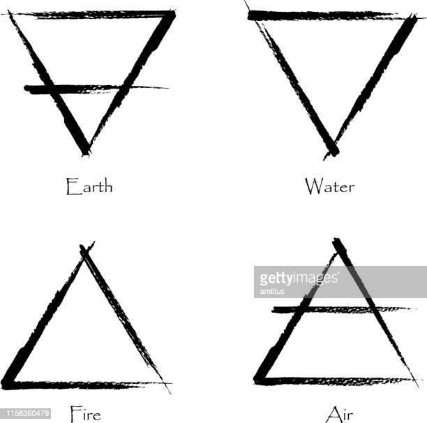 schwarze striche vier elemente - wind stock-grafiken, -clipart, -cartoons und -symbole