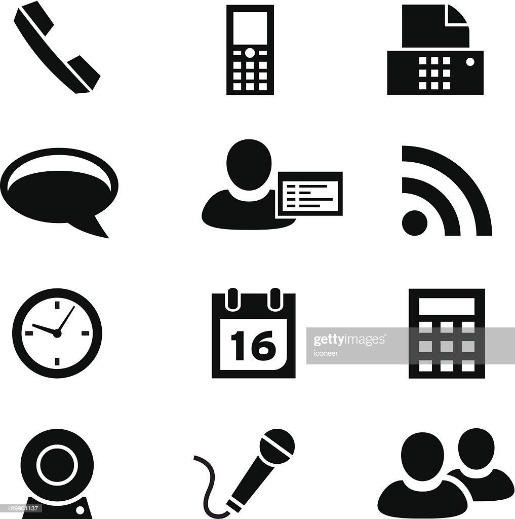 Black style icon set communication