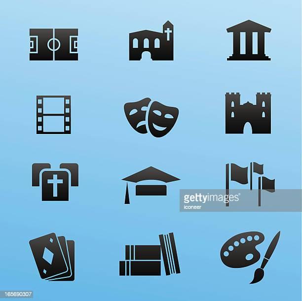 schwarz-icon-set, kultur und events - kunst, kultur und unterhaltung stock-grafiken, -clipart, -cartoons und -symbole