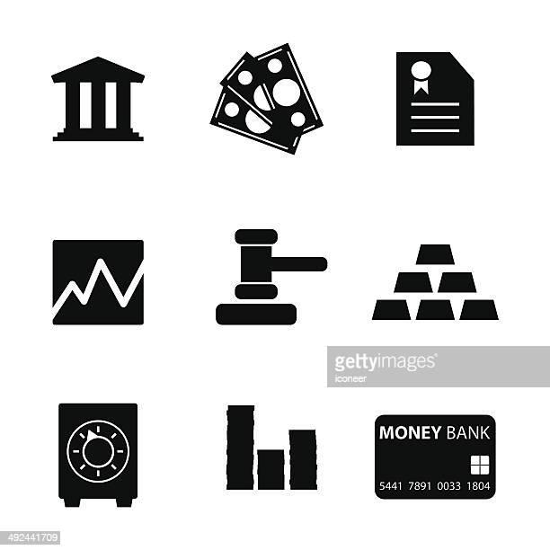 Black style icon set financial