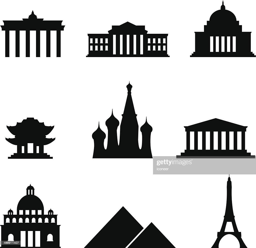 Black style Icon Set Landmarks : stock illustration