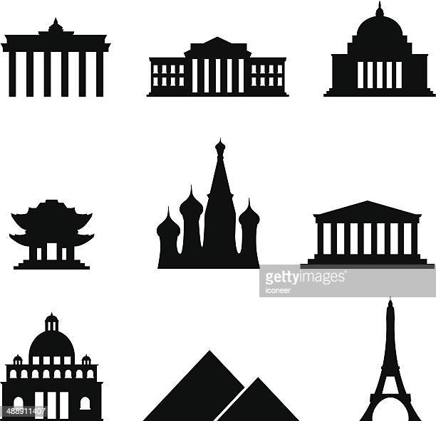 black style icon set landmarks - brandenburg gate stock illustrations, clip art, cartoons, & icons