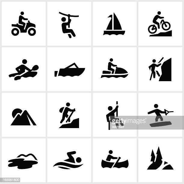 illustrations, cliparts, dessins animés et icônes de aventure d'été icônes noir - vtt