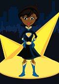 Black Super Girl Character in City Scene