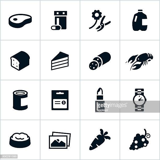 Black Supermarket Departments Icons