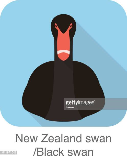 Black swan head flat icon, vector