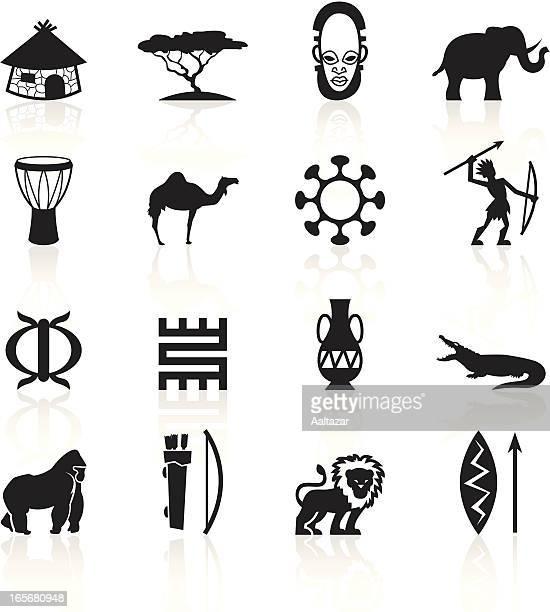 illustrations, cliparts, dessins animés et icônes de noir symboles-afrique - masque africain