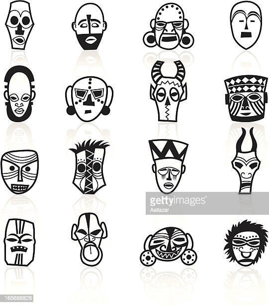 illustrations, cliparts, dessins animés et icônes de noir symboles-afrique masques - masque africain
