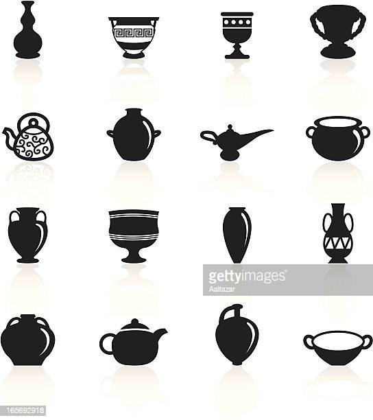 black symbols - ancient pottery - pottery stock illustrations, clip art, cartoons, & icons