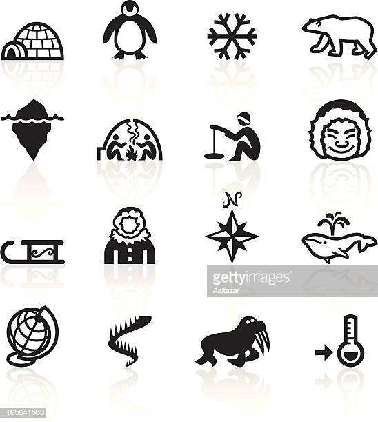 illustrations, cliparts, dessins animés et icônes de noir symboles-arctic - igloo