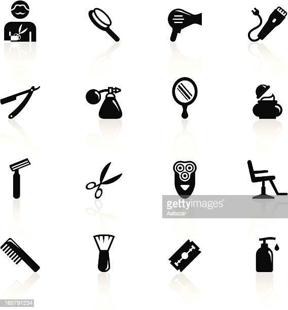 black symbols - barbershop - hand mirror stock illustrations