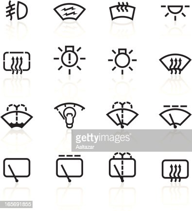 Black Symbols Car Control Indicators stock illustration
