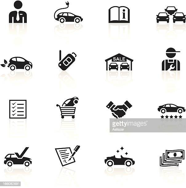 black symbols - car dealership - new stock illustrations