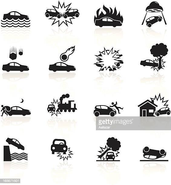 ilustraciones, imágenes clip art, dibujos animados e iconos de stock de símbolos de coche negro catástrofe - car crash