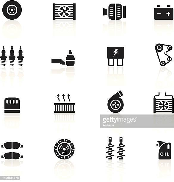 black symbols - car maintenance - electric fan stock illustrations