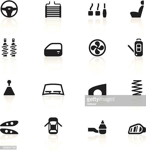 black symbols - car parts - vehicle hood stock illustrations, clip art, cartoons, & icons