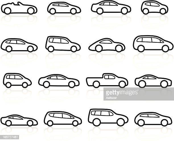 black symbols - cars - hatchback stock illustrations, clip art, cartoons, & icons