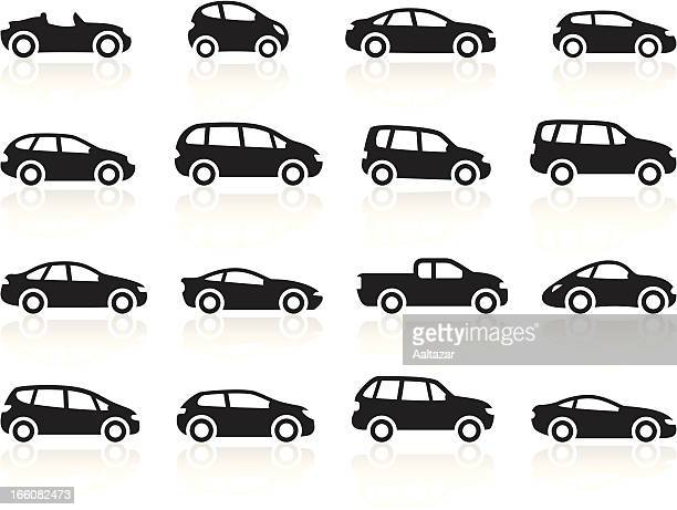 black symbols - cartoon cars - car stock illustrations, clip art, cartoons, & icons