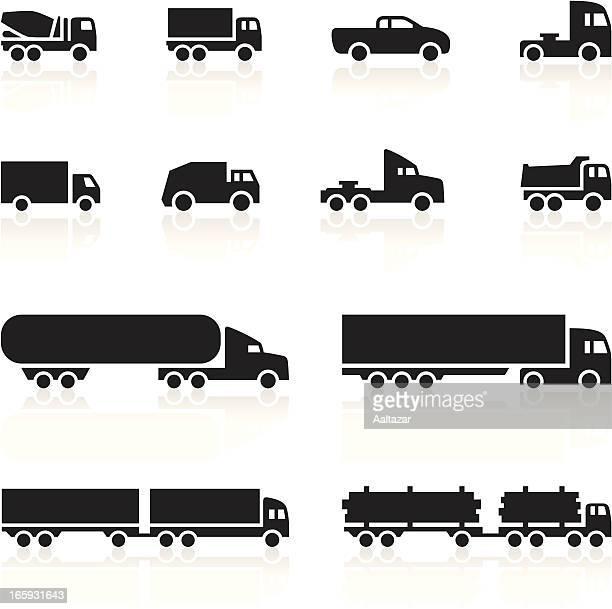 bildbanksillustrationer, clip art samt tecknat material och ikoner med black symbols - cartoon trucks - lastbil