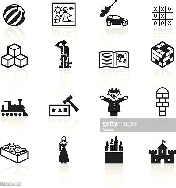 black symbols - childplay and toys - building block stock illustrations