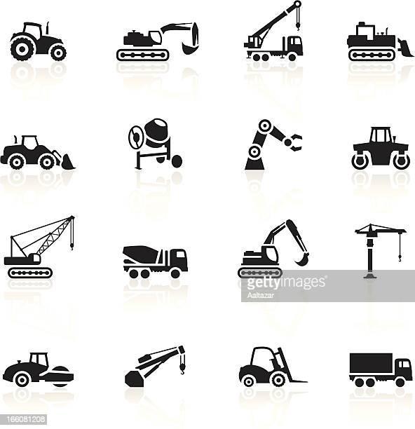 black symbols - construction machines - crane construction machinery stock illustrations