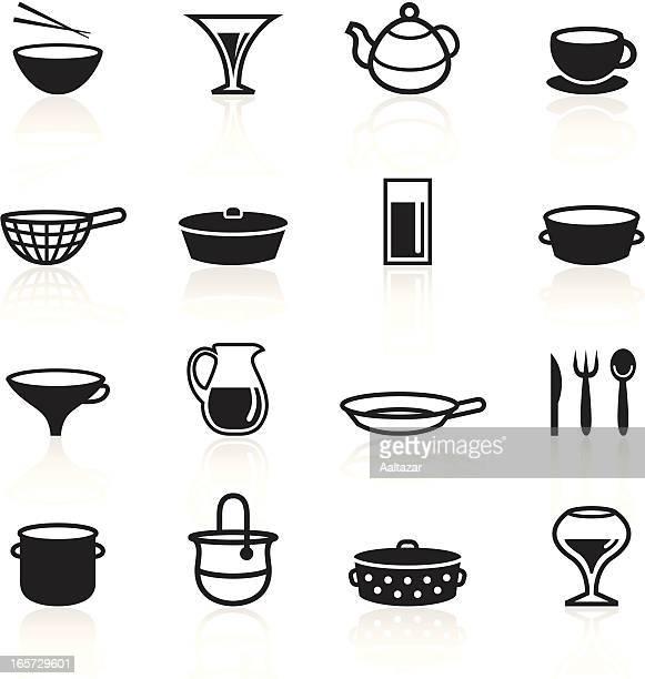 black symbols - dishes - stew pot stock illustrations
