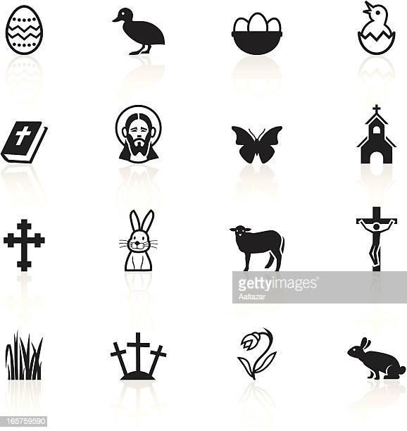 black symbols - easter - daffodil stock illustrations