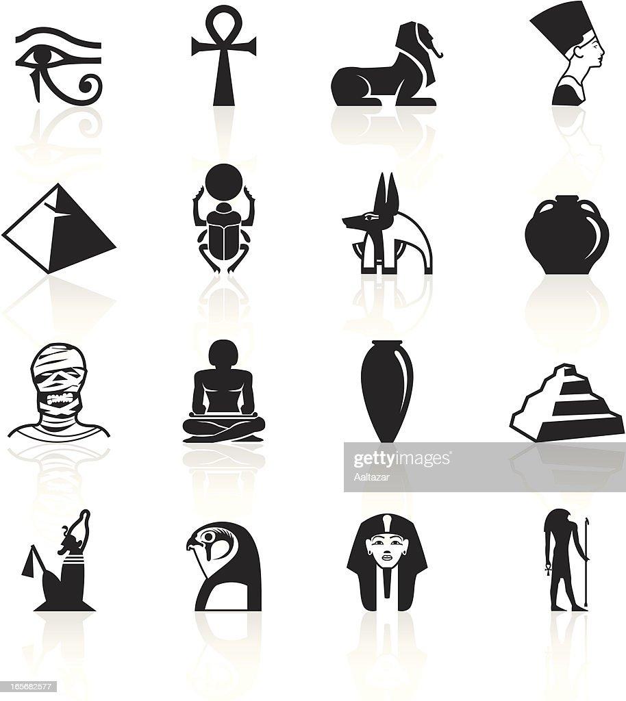 Set of black hieroglyphics symbols with shadows on white vector keywords buycottarizona