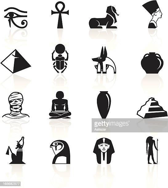 ilustrações, clipart, desenhos animados e ícones de black símbolos-egito - cultura egípcia