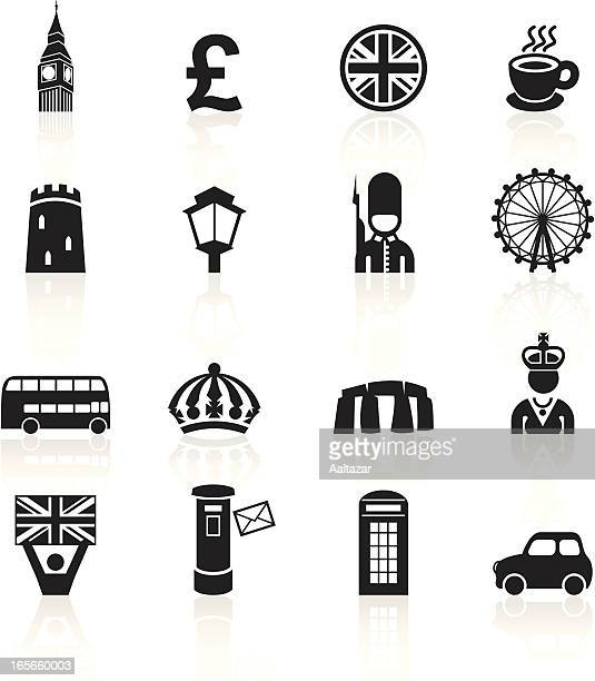 black symbols - england uk - ferris wheel stock illustrations, clip art, cartoons, & icons