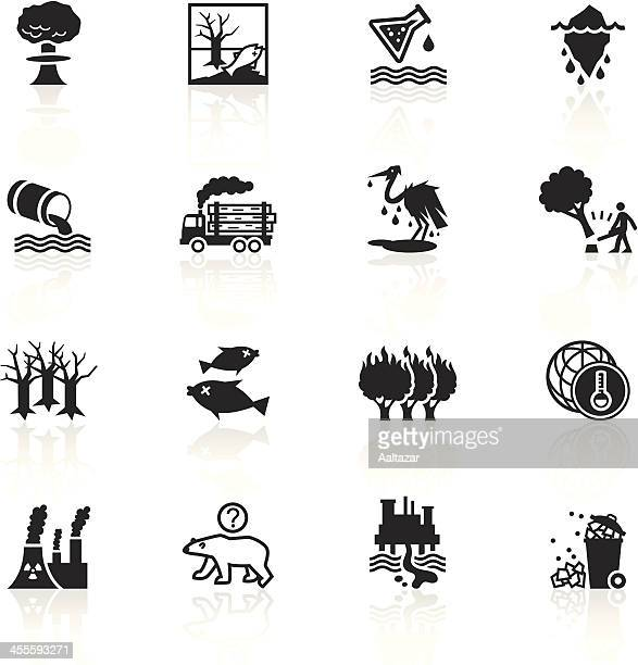 black symbols - environmental damage - environmental damage stock illustrations