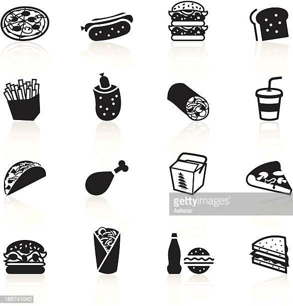 black symbols - fast food - nachos stock illustrations