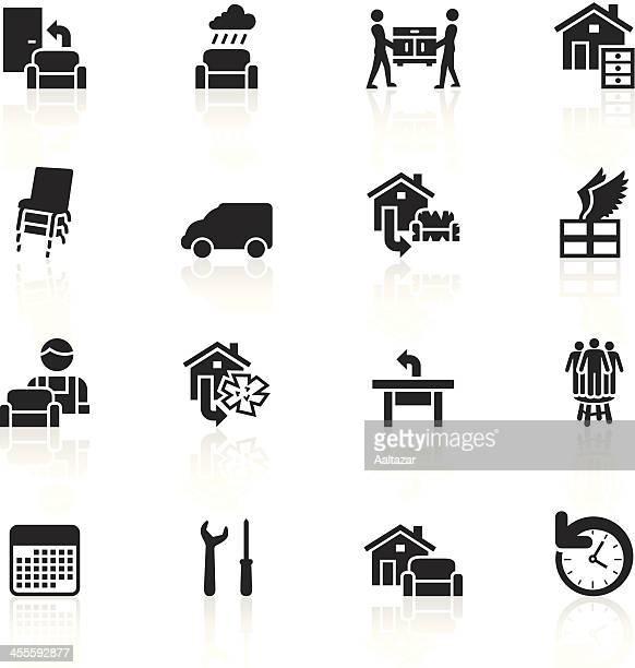 black symbols - furniture delivery - stacking stock illustrations