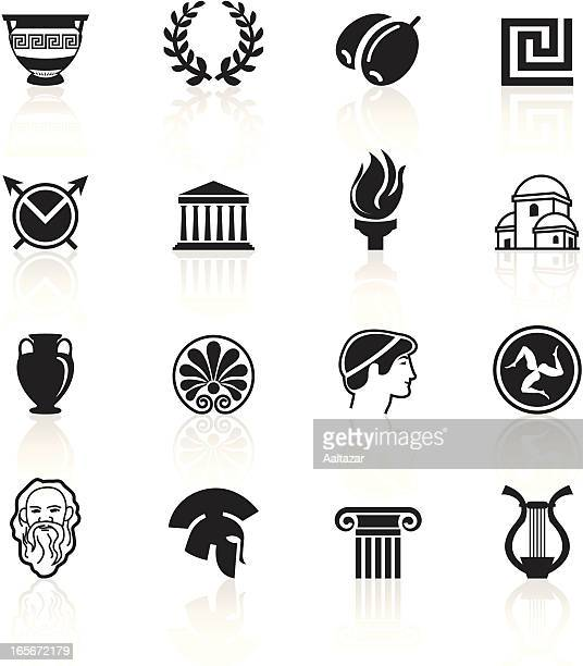 black symbols - greece - greek culture stock illustrations, clip art, cartoons, & icons